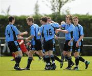 8 May 2011; Captain Darragh Lenihan, third from left, celebrates with his Belvedere FC team-mates after scoring the second goal. Dublin and District Schoollboys League Finals, Paul McGrath Cup Final, Belvedere FC v St Joseph's Boys FC, A.U.L Complex, Clonshaugh, Dublin. Picture credit: Ray McManus / SPORTSFILE