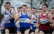 11 December 2016; Dermot McElchar, left, and Dalton McGuigan, centre, Finn Valley, Co. Donegal, and Jonathan Daly, Mullingar Harriers A.C, Co. Westmeath, in action during the Novice Men's 6000m race the Irish Life Health Novice & Juvenile Uneven Age National Cross Country Championships at Dundalk I.T. in Co. Louth. Photo by Seb Daly/Sportsfile