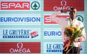 11 December 2016; Aras Kaya of Turkey who came first place in the mens senior race salutes the Turkey flag during the medal presentation at the 2016 Spar European Cross Country Championships in Chia, Italy. Photo by Eóin Noonan/Sportsfile