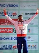 11 December 2016; Mahamed Mahamed of Great Britain who came third place in the mens under 20 race during the medal presentation at the 2016 Spar European Cross Country Championships in Chia, Italy. Photo by Eóin Noonan/Sportsfile