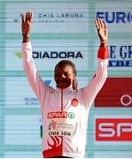 11 December 2016; Meryem Akda of Turkey who came second place in the womens senior race during the medal presentation at the 2016 Spar European Cross Country Championships in Chia, Italy. Photo by Eóin Noonan/Sportsfile