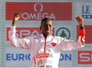 11 December 2016; Aras Kaya of Turkey who came first place in the mens senior race during the medal presentation at the 2016 Spar European Cross Country Championships in Chia, Italy. Photo by Eóin Noonan/Sportsfile