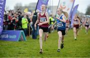 11 December 2016; Second place Hannah Breen, left, Crookstown Millview A.C, Co, Kildare, and third place Emma Landers, right, Youghal A.C, Co. Cork, on their way to finshing the Girls U13 2500m race during the Irish Life Health Novice & Juvenile Uneven Age National Cross Country Championships at Dundalk I.T. in Co. Louth. Photo by Seb Daly/Sportsfile