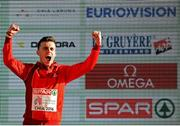 11 December 2016; Carlos Mayo of Spain who came secoond place in the mens under 23 race during the medal presentation at the 2016 Spar European Cross Country Championships in Chia, Italy. Photo by Eóin Noonan/Sportsfile