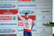 11 December 2016; Callum Hawkins of Great Britain who came third place in the mens senior race during the medal presentation at the 2016 Spar European Cross Country Championships in Chia, Italy. Photo by Eóin Noonan/Sportsfile