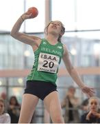10 December 2016; Niamh O Neill of Ireland competes in the Under 16 shot putt event at the Combined Events Schools International games at Athlone IT in Co. Westmeath. Photo by Cody Glenn/Sportsfile