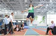 10 December 2016; Troy McConville of Ireland competes in the Under 16 Boys long jump event at the Combined Events Schools International games at Athlone IT in Co. Westmeath. Photo by Cody Glenn/Sportsfile