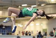 10 December 2016; Rachel Kelly of Ireland competes in the Over 16 high jump event at the Combined Events Schools International games at Athlone IT in Co. Westmeath. Photo by Cody Glenn/Sportsfile