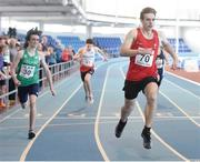 10 December 2016; Luca Contino of Wales wins the Under 16 Boys 200m event at the Combined Events Schools International games at Athlone IT in Co. Westmeath. Photo by Cody Glenn/Sportsfile