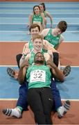 10 December 2016; Anthony Odubote, front, from CBS Rice College, Ennis, Joseph Miniter, from Ennistymon CBS, Shane Monagle, from Ard Scoil na Mara, Tramore,  and Daragh Miniter, from Ennistymon CBS, of the Ireland Over 16 Boys await the medal presentations during the Combined Events Schools International games at Athlone IT in Co. Westmeath. Photo by Cody Glenn/Sportsfile