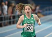 10 December 2016; Niamh O Neill of Ireland competes in the Under 16 Girls 800m event at the Combined Events Schools International games at Athlone IT in Co. Westmeath. Photo by Cody Glenn/Sportsfile