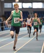 10 December 2016; Diarmuid O'Connor of Ireland on his way to winning the Under 16 Boys' 800m event during the Combined Events Schools International games at Athlone IT in Co. Westmeath. Photo by Cody Glenn/Sportsfile