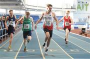 10 December 2016; Toby Seal of England crosses the line to win the Over 16 Boys' 200m event ahead of the field including, from left, Calum Henderson of Scotland, Joseph Miniter of Ireland, and Harri Wheeler-Sexton of Wales during the Combined Events Schools International games at Athlone IT in Co. Westmeath. Photo by Cody Glenn/Sportsfile