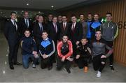 14 December 2016; An Taoiseach Enda Kenny T.D with, back row, from left, Dublin footballer Paul Flynn, Dermot Earley, GPA President, Mayo footballer Rob Hennelly, Minister for Transport, Tourism & Sport Shane Ross T.D, Meath footballer Andy Tormey, Meath footballer Conor McGill,  Minister of State for Tourism and Sport Patrick O'Donovan T.D, GPA CEO Dessie Farrell, Armagh footballer Stephen Sheridan, Dublin footballer Denis Bastick, Dublin footballer Ciaran Kilkenny, Kilkenny hurler Cillian Buckley, front row, from left, Wicklow footballer John McGrath, Dublin footballer John Small, Derry footballer Chrissy McKaigue, Kilkenny hurler Richie Hogan and Mayo footballer Evan Regan in attendance at the GPA agreement with Government on Government grants in Croke Park, Dublin. Photo by Matt Browne/Sportsfile