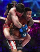 16 December 2016; James Gallagher, left, in action against Anthony Taylor during their featherweight bout at Bellator 169 in the 3 Arena in Dublin. Photo by Ramsey Cardy/Sportsfile