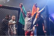 16 December 2016; James Gallagher celebrates defeating Anthony Taylor following their featherweight bout at Bellator 169 in the 3 Arena in Dublin. Photo by Ramsey Cardy/Sportsfile