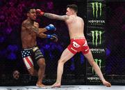 16 December 2016; James Gallagher, right, in action against Anthony Taylor during their featherweight bout at Bellator 169 in the 3 Arena in Dublin. Photo by Ramsey Cardy/Sportsfile