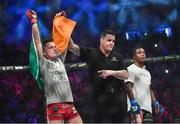 16 December 2016; James Gallagher is announced victorious over Anthony Taylor following their featherweight bout at Bellator 169 in the 3 Arena in Dublin. Photo by Ramsey Cardy/Sportsfile
