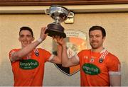 18 December 2016; Rory Grugan, left, and Aidan Forker of Armagh celebrate with the O'Fiaich cup after the O'Fiaich Cup Final game between Armagh and Tyrone at Oliver Plunkett Park in Crossmaglen, Co. Armagh. Photo by Oliver McVeigh/Sportsfile
