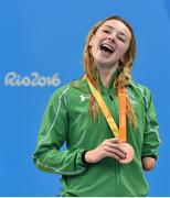14 September 2016; Ellen Keane of Ireland with her bronze medal following the Women's 100m Breaststroke SB8 Final at the Olympic Aquatics Stadium during the Rio 2016 Paralympic Games in Rio de Janeiro, Brazil. Photo by Paul Mohan/Sportsfile
