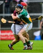 19 June 2016; Joe Canning of Galway clashes with Chris McDonald of Offaly during the Leinster GAA Hurling Senior Championship Semi-Final match between Galway and Offaly at O'Moore Park in Portlaoise, Co Laois. Photo by Cody Glenn/Sportsfile