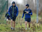 19 December 2016; Leinster backs coach Girvan Dempsey, left, and Jamison Gibson-Park, right, arrive ahead of squad training at UCD in Belfield, Dublin. Photo by Seb Daly/Sportsfile