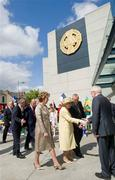 18 May 2011; HM Queen Elizabeth II is introduced to Jimmy Deenihan T.D, Minister of Arts, Heritage and the Gaeltacht by President Mary McAleese and Uachtarán CLG Criostóir Ó Cuana as she arrives for their visit to Croke Park. State Visit to Ireland by HM Queen Elizabeth II and HRH the Duke of Edinburgh, Croke Park, Dublin. Picture credit: Brian Lawless / SPORTSFILE