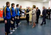18 May 2011; Joe Sheridan, Meath, with Kevin Nolan, Dublin, Padraic Maher and Lar Corbett, Tipperary, to his right, is introduced to HM Queen Elizabeth II and President Mary McAleese by Uachtarán CLG Criostóir Ó Cuana during their tour of Croke Park. State Visit to Ireland by HM Queen Elizabeth II and HRH the Duke of Edinburgh, Croke Park, Dublin. Picture credit: Ray McManus / SPORTSFILE