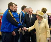 18 May 2011; Lar Corbett, Tipperary, is introduced to HM Queen Elizabeth II by Uachtarán CLG Criostóir Ó Cuana during their tour of Croke Park. State Visit to Ireland by HM Queen Elizabeth II and HRH the Duke of Edinburgh, Croke Park, Dublin. Picture credit: Ray McManus / SPORTSFILE