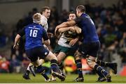 17 December 2016; JJ Hanrahan of Northampton Saints is tackled by Devin Toner of Leinster  during the European Rugby Champions Cup Pool 4 Round 4 match between Leinster and Northampton Saints at the Aviva Stadium, Dublin. Photo by Sam Barnes/Sportsfile