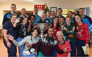 25 December 2016; Doctors, nurses, porters and and security staff from the Accident and Emergency Department with Dublin manager Jim Gavin, selector Shane O'Hanlon, team captain Stephen Cluxton, and team members Tomás Brady, Brian Fenton, Ciaran Kilkenny, James McCarthy, John Small, Paul Mannion and the Sam Maguire Cup during a visit to Beaumont Hospital in Beaumount, Dublin.  Photo by Ray McManus/Sportsfile