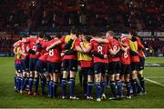 26 December 2016; The Leinster team wear t-shirts bearing the Number 8 of the late Munster head coach Anthony Foley ahead of the Guinness PRO12 Round 11 match between Munster and Leinster at Thomond Park in Limerick. Photo by Brendan Moran/Sportsfile