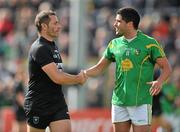 22 May 2011; Eamonn O'Hara, Sligo, and Emlyn Mulligan, Leitrim, shake hands with each other after both players were sent off by referee Rory Hickey, during the closing stages of the game. Connacht GAA Football Senior Championship Quarter-Final, Sligo v Leitrim, Markievicz Park, Sligo. Picture credit: David Maher / SPORTSFILE