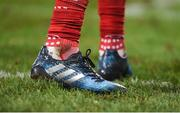 26 December 2016; A detailed view of a tribute to the late Anthony Foley on the boots of Simon Zebo of Munster during the Guinness PRO12 Round 11 match between Munster and Leinster at Thomond Park in Limerick. Photo by Diarmuid Greene/Sportsfile
