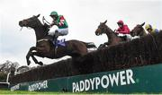 29 December 2016; Courtncatcher, with Conor Brassil up, clears the last ahead of Thomond, centre, with Barry Reynolds up, and The Conker Club, with Patrick Corbett up, on their way to winning The Martinstown Opportunity Handicap Steeplechase during day four of the Leopardstown Christmas Festival in Leopardstown, Dublin. Photo by Cody Glenn/Sportsfile