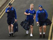 31 December 2016; Leinster players, from left, Dan Leavy, Jeremy Loughman and Andrew Porter arrive prior to the Guinness PRO12 Round 12 match between Leinster and Ulster at the RDS Arena in Dublin. Photo by Stephen McCarthy/Sportsfile
