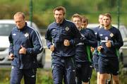 23 May 2011; Northern Ireland's, from left, Warren Feeney, Gareth McAuley, Steve Davis, Niall McGinn and Josh McQuoid during squad training ahead of their side's upcoming Carling Four Nations Tournament game against Republic of Ireland on Tuesday. Northern Ireland Squad Training, Wayside Celtic FC, Jackson Park, Kilternan, Co. Dublin. Picture credit: Oliver McVeigh / SPORTSFILE