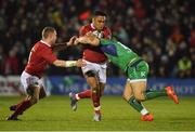 31 December 2016; Francis Saili of Munster is tackled by Peter Robb of Connacht during the Guinness PRO12 Round 12 match between Connacht and Munster at Sportsground in Galway. Photo by Brendan Moran/Sportsfile