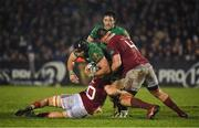 31 December 2016; John Muldoon of Connacht is tackled by Conor Oliver, left, and Jean Kleyn of Munster during the Guinness PRO12 Round 12 match between Connacht and Munster at Sportsground in Galway. Photo by Brendan Moran/Sportsfile