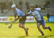 1 January 2017; Sean O Rian of Dublin in action against Ronan Walsh of Dubs Stars during the Hurling Challenge game between Dublin and Dubs Stars at Parnell Park in Dublin. Photo by David Maher/Sportsfile