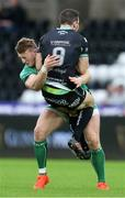 7 January 2017; Tom Habberfield of Ospreys is tackled by Peter Robb of Connacht during the Guinness PRO12 Round 13 match between Ospreys and Connacht at Liberty Stadium  in Swansea, Wales. Photo by Chris Fairweather/Sportsifle