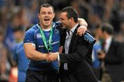 21 May 2011; Cian Healy, Leinster, left, celebrates with Dave Kearney following his side's victory. Heineken Cup Final, Leinster v Northampton Saints, Millennium Stadium, Cardiff, Wales. Picture credit: Ray McManus / SPORTSFILE