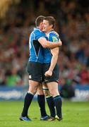 21 May 2011; Leinster's Brian O'Driscoll, right, and Fergus McFadden celebrate after the game. Heineken Cup Final, Leinster v Northampton Saints, Millennium Stadium, Cardiff, Wales. Picture credit: Matt Browne / SPORTSFILE