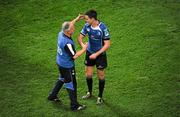 21 May 2011; Jonathan Sexton, Leinster, celebrates with Prof Arthur Tanner following their victory. Heineken Cup Final, Leinster v Northampton Saints, Millennium Stadium, Cardiff, Wales. Picture credit: Stephen McCarthy / SPORTSFILE