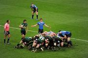 21 May 2011; A general view of a scrum during the game. Heineken Cup Final, Leinster v Northampton Saints, Millennium Stadium, Cardiff, Wales. Picture credit: Stephen McCarthy / SPORTSFILE