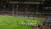 21 May 2011; Leinster and Northampton Saints make their way onto the pitch. Heineken Cup Final, Leinster v Northampton Saints, Millennium Stadium, Cardiff, Wales. Picture credit: Stephen McCarthy / SPORTSFILE
