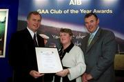 4 February 2002; Pictured at the AIB GAA Club of the Year Awards 2001 in Croke Park are Eugene Sheehy, Managing Director AIB, Sean McCague, President of the GAA, Rosena Jordan of Kingscourt Stars who won the Cavan Club of the Year Award.  Picture credit; Ray McManus / SPORTSFILE