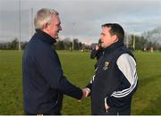 8 January 2017; Wexford manager Davy Fitzgerald, right, and UCD manager Nicky English following the Bord na Mona Walsh Cup Group 3 Round 1 match between Wexford and UCD at Páirc Uí Suíochan in Gorey, Co. Wexford. Photo by Ramsey Cardy/Sportsfile
