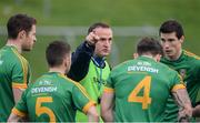 8 January 2017; Meath manager Andy McEntee speaks to his players ahead of the Bord na Mona O'Byrne Cup Group 3 Round 1 match between Meath and Wicklow at Páirc Táilteann in Navan, Co. Meath. Photo by Daire Brennan/Sportsfile