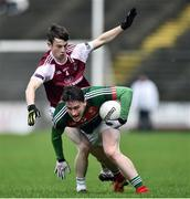 8 January 2017; Liam Irwin of Mayo in action against of Aaron O'Connor of NUIG during the Connacht FBD League Section A Round 1 match between Mayo and NUI Galway at Elvery's MacHale Park in Castlebar, Co. Mayo. Photo by David Maher/Sportsfile